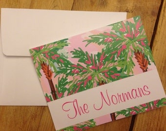 Set of 10 Personalized Foldover Notecards Thank You Notes Stationery