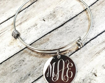 Monogram Bracelet - Adjustable Wire Charm Bracelet with Monogram Engraved - Custom Made Personalized Initials Stainless Steel