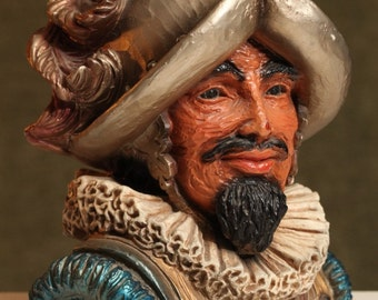Mid Century 1960's Spanish CONQUISTADOR Bust Vintage Detailed Conqueror Knight STATUE VINTAGE Decor