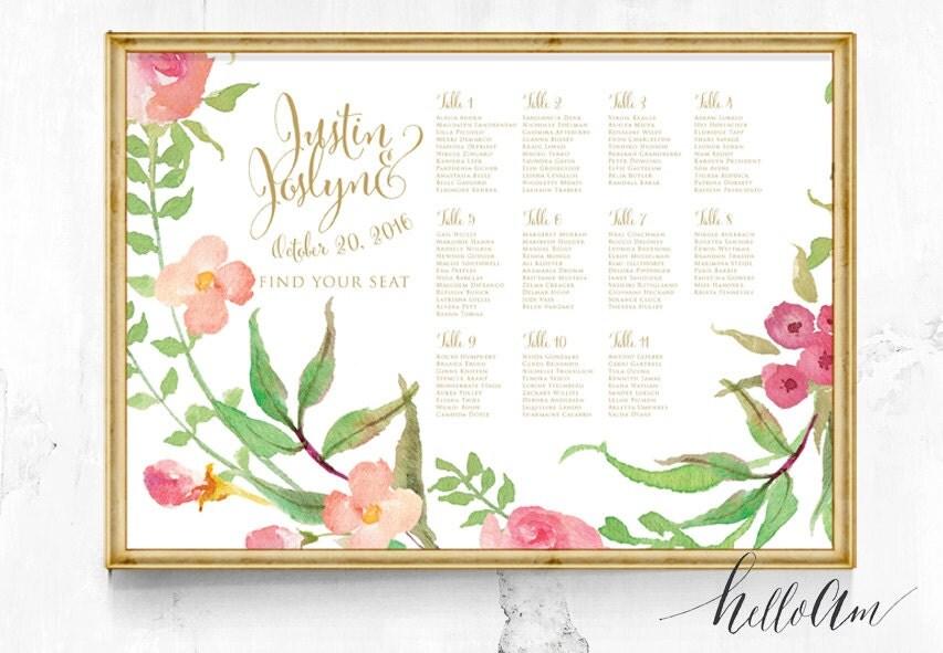 Wedding seating Chart - Wedding seating plan - Seating chart poster - Seating chart wedding - Reception seating - Boho Wedding décor