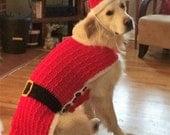 Dog Santa Suit, Santa Dog Sweater, Dog Santa Outfit, Christmas Dog Sweater, Made to Order, Extra Small, Small, Medium, Large Sizes