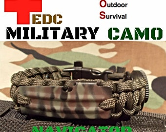 550 Paracord EDC Military CAMO Survival Bracelet Band / Flint Rod Fire / Compass / Whistle USA Made