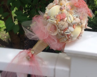 Beach Wedding, Sea Shell Bouquet Salmon Pink, Starfish Bouquet, Destination Wedding