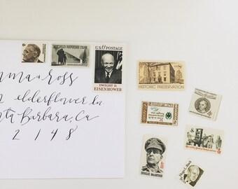 Unused vintage postage stamp set - Brown Hues #1 - 9 stamps