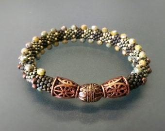 """Bead Crochet Bracelet """"Pillar"""" (Elegant Bracelet, Beaded Bracelet)"""