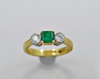 Estate Engagement Ring .75ct. Emerald, Diamond & 18K Gold - J35402