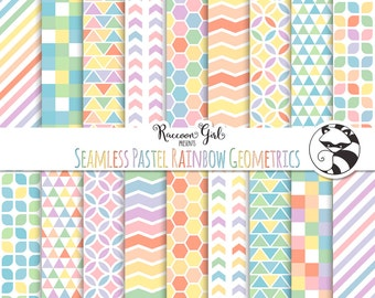 Seamless Pastel Rainbow Geometric Pattern Digital Paper Set - Personal & Commercial Use