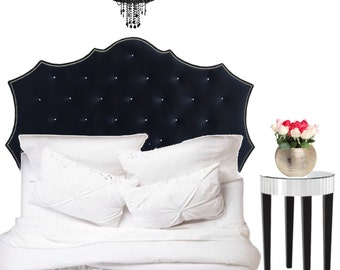 "Our ""Francesca"" Upholstered Tufted Headboard w/Nailhead trim"