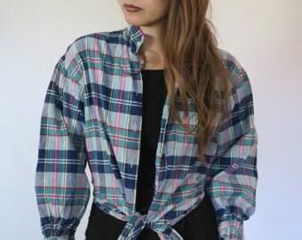Plaid Crop Top Shirt Long Sleeve Small
