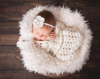 Newborn Girl Photo Prop, Girly Cocoon Photo Prop, Ivory Photo Prop Set, Baby Girl Ivory Cocoon and Headband Photo Prop