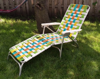 SALE Vintage Lawnlite Tube Green, Yellow, Orange and White Strap Garden/Lawn Lounge Chair