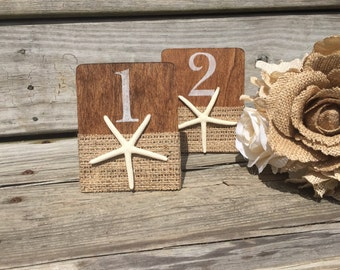 White and Burlap Starfish Table Numbers, Starfish Wedding Table Numbers, Beach Wedding Table Numbers, White Beach Table Numbers