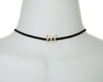 CZ Gold Plated Sterling Silver Butterfly Choker