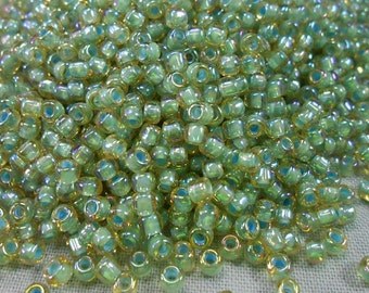 Pale Topaz Colorlined Sage Miyuki 8/0 Seed Beads, 30 grams (8-356F)