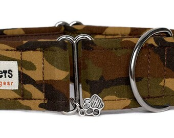 "Noddy & Sweets Adjustable Martingale Collar [1"", 1.5"", 2"" Camouflage Ranger]"