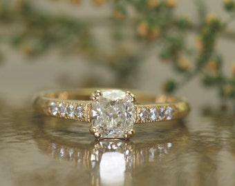 Antique Style Cushion Cut Diamond Engagement Ring in Yellow Gold, GIA 0.71ct J/SI1, Open Basket with Double Claw Prongs & Milgrain, Aida