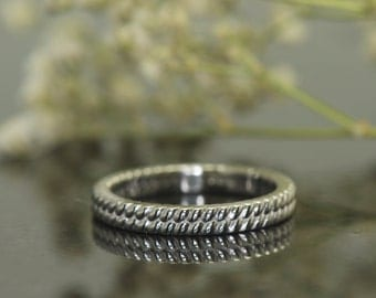 Platinum Wedding Band with Rope Design, Eternity Style, 3mm Wide, High Polish, 950 Plat, Stackable Anaya