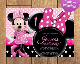 Minnie Mouse Birthday Invitation FREE THANK YOU Included