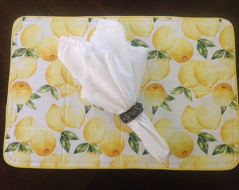 Placemats in a Bright Yellow Lemon Print