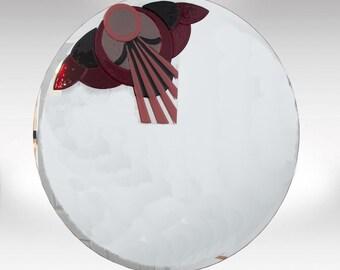 Vintage Fused Glass Art Deco Mirror
