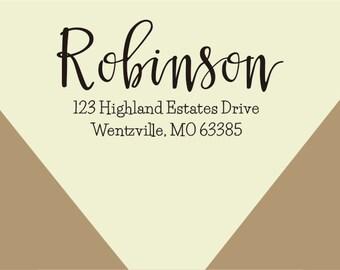 custom Return Address Stamp, Self-Inking Address Stamp - Custom Address Stamp-custom rubber stamp-Return Address Stamp calligraphy style