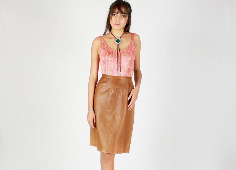 Vintage 70s Camel Butter Leather Skirt // leather skirt, vintage ...