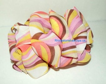 Becky Bows ~OOAK Barrette Hand crafted huge scarf BIG hair bow Women or Girls giant pink orange chiffon  US seller