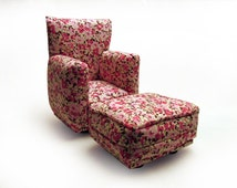 Barbie Doll Living Room Chair & Ottoman-White with Pink Flower Print-1:6 Scale- works with any Blythe and 11 inch fashion doll
