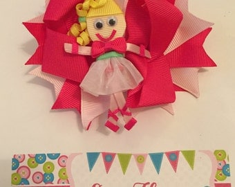 Pink Ballerina 3-in-1 Ribbon Sculpture Over the Top Hair Bow