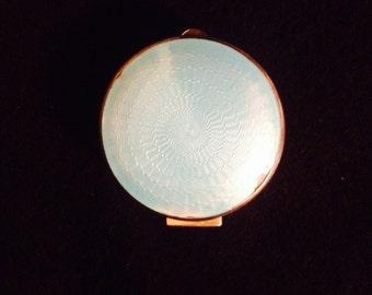 Antique Art Deco Hallmarked Sterling Silver& Guilloche enamel pendant, Pill or Snuff Box