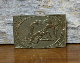 Brass Belt Buckle, Vintage Buckle, Dance Center Of London, His Hers Accessories, Fashion, Collectibles, Womens Mens, Montauk Silver Company