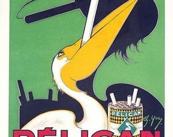Early 20th century Pelican Cigarettes Advertising Poster A3 Print