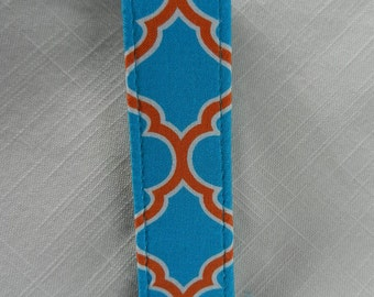 Geometric Designs fabric , Key Fob,Turquoise and Orange~ Key chain, Wristlet, Camera Strap