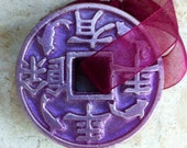 Chinese Coin Soap On The Rope Weight  3.0 Oz.Color Purple With Almond Oil, Wedding Favor, Present, Nice Gift, Glycerine Soap With Vit. E