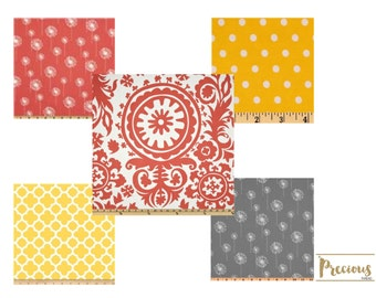 Custom Crib Bedding -  Coral, Gray and Yellow Crib Bedding - Choose your fabrics