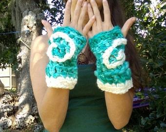 Cloud spiral arm warmer fingerless gloves handspun hand dyed merino wool