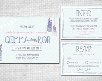 Printable Wedding Invitation -Lavender country farm - DIY Wedding Stationery PDF
