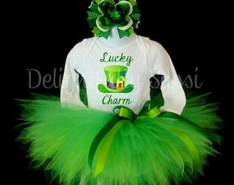 St. Patrick's Day Tutu Set, Lucky Charm, Tutu Outfit, St. Patrick's Day