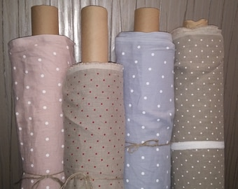 100 % Linen softened fabric / washed linen fabric with dots