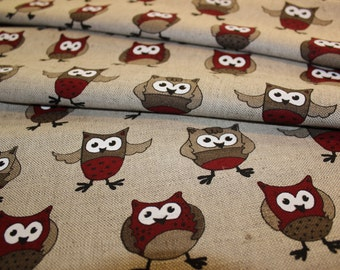 Linen - cotton fabric with red owl