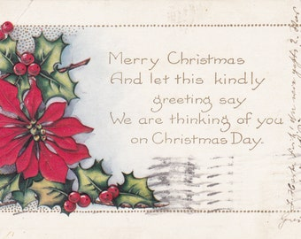 true vintage post card Christmas card 1925 Holly poinsettia