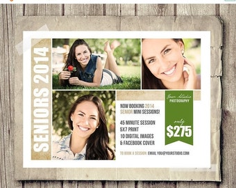 30% OFF Senior Photos Mini Session Board for Photographers - INSTANT DOWNLOAD - Senior Blog Marketing Board - Photography Template Psd