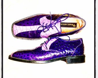 1980's Men's Purple Ostrich Leather Shoes by Stacy Adams, Size 8.5, Vintage 80's Rockabilly Formal Loafers, 80's Purple Alligator Oxfords