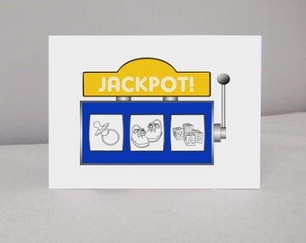 "Dual Card ""jackpot!"" congratulation birth or pregnancy"