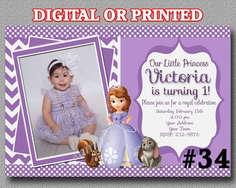 Sofia the first Invitation, Princess Sofia Invitation, Sofia the first YOU Print Digital File or PRINTED Birthday Party Invitation