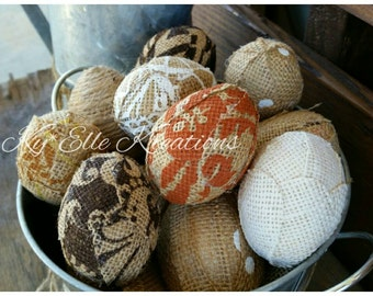 Decorative Burlap Easter Eggs, Easter Eggs, Egg,Home Decor Eggs, Easter Decorations, Basket Filler, Egg Decoration, Home Decor, Home Accents