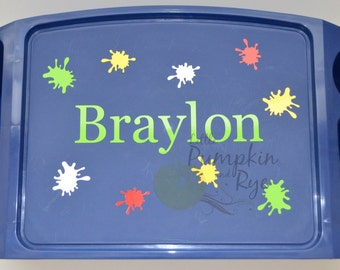 Color Splats Personalized Kid's Lap Tray, birthday, school, gift, children, girl, boy, plastic tray, lap desk