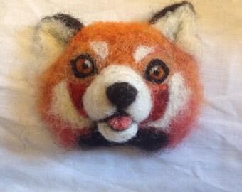 Red panda brooch - needle felted animal badge - handmade felt jewellery