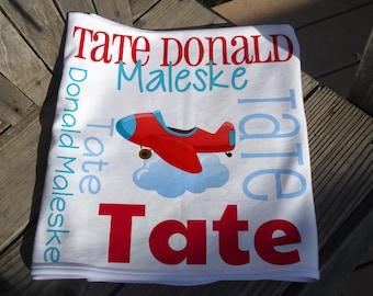 Personalized Plane Baby Blanket - Airplane Receiving Blanket - Custom Baby Name Blanket - Newborn Swaddling Blanket - Plane Baby Photo Prop