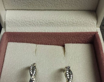 authentic pandora twist of fate earrings 290576CZ, sterling silver 925 ale new